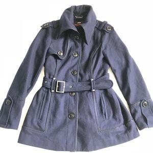 Miss Sixty M60 Pea Coat Womens Navy Blue Wool M